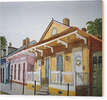 St. Ann Street Scene - French Quarter Wood Print by June Holwell