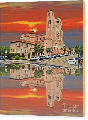 St Anne Church Of The Sunset In San Francisco With A Reflection  Wood Print