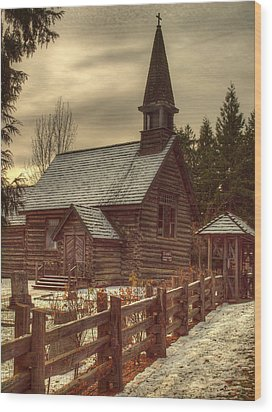 St Anne's Church In Winter Wood Print by Randy Hall