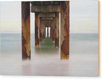 Wood Print featuring the photograph St. Augustine Beach Pier by Marion Johnson