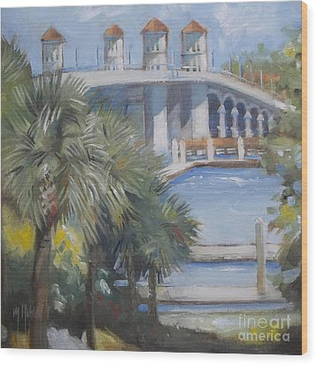 St Augustine Bridge Of Lions Wood Print