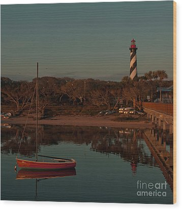 St. Augustine Lighthouse Beach Early Morning Color Wood Print
