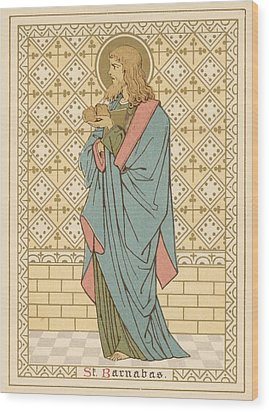 St Barnabas Wood Print by English School