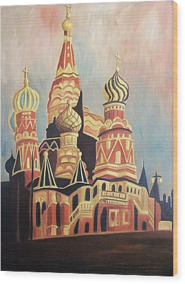 St Basil's Cathedral Moscow Wood Print by Suzanne  Marie Leclair