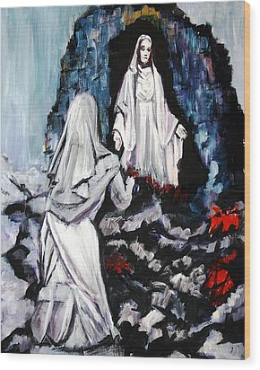 St. Bernadette At The Grotto Wood Print