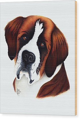 St. Bernard Wood Print by Danielle R T Haney