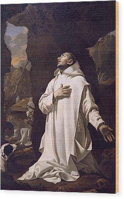 St Bruno Praying In Desert Wood Print by Nicolas Mignard