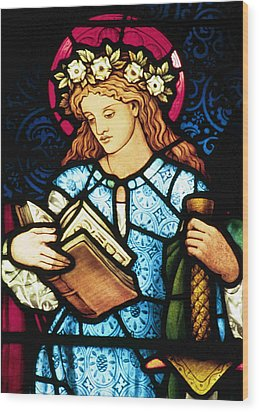 St Catherine Of Alexandria In Stained Glass Wood Print by Philip Ralley
