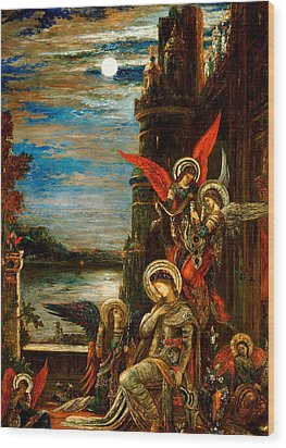 St Cecilia The Angels Announcing Her Coming Martyrdom Wood Print by Gustave Moreau