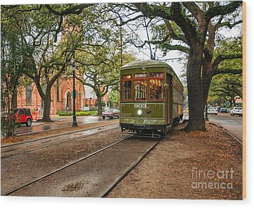 St. Charles Ave. Streetcar In New Orleans Wood Print