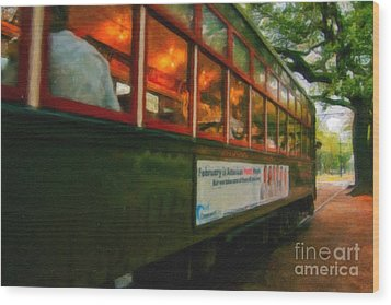 St. Charles Ave Streetcar Whizzes By - Digital Art Wood Print by Kathleen K Parker