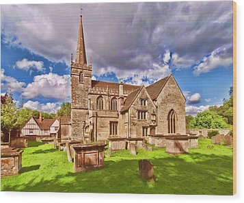 St Cyriac Church Lacock Wood Print by Paul Gulliver