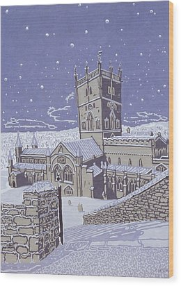 St David S Cathedral In The Snow Wood Print by Huw S Parsons
