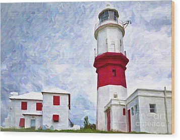 Wood Print featuring the photograph St. David's Lighthouse by Verena Matthew