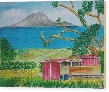 St. Eustatis From St. Kitts Wood Print by Frank Hunter