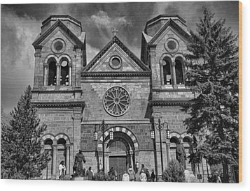 St. Francis Cathedral Basilica Study 5 Bw Wood Print