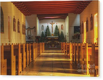 St Francis De Paula Mission Tularosa Wood Print by Bob Christopher