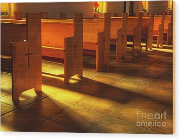 St Francis De Paula Shadow And Light Wood Print by Bob Christopher