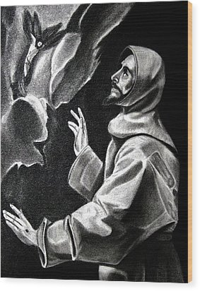 St Francis Of Assisi Wood Print by Enrique Garcia