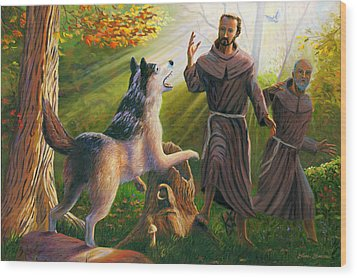 St. Francis Taming The Wolf Wood Print by Steve Simon