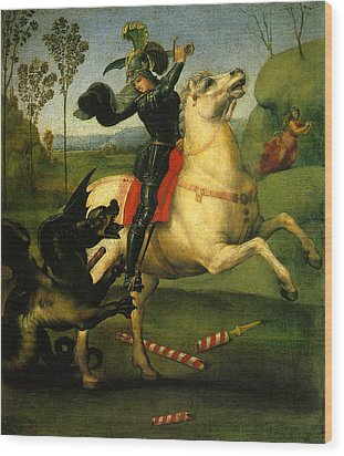St George And Dragon Reproduction Art Work Wood Print by Raphael