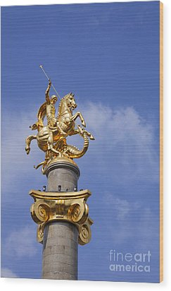 St George And The Dragon Statue In Tbilisi Wood Print by Robert Preston