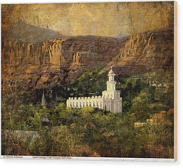 St. George Temple Red Hills Antique Wood Print