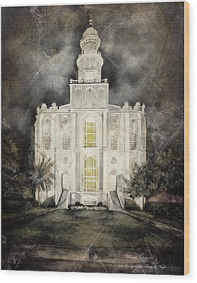 St. George Utah Temple At Night Wood Print
