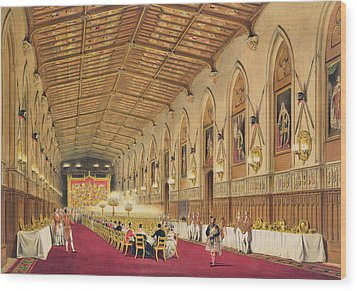 St Georges Hall At Windsor Castle Wood Print by James Baker Pyne