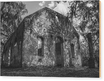 St Helena Chapel Of Ease  Bw 3 Wood Print by Steven  Taylor