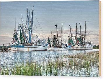 St. Helena Island Shrimp Boats Wood Print