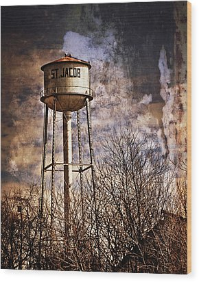 St. Jacob Water Tower 2 Wood Print by Marty Koch