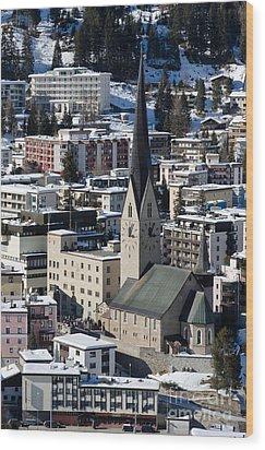 St Johann Davos Church St John Town Wood Print by Andy Smy
