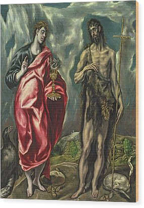 St John The Evangelist And St John The Baptist Wood Print by El Greco Domenico Theotocopuli