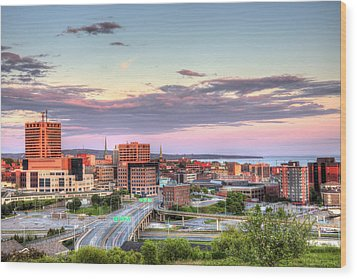 Wood Print featuring the photograph St. John's New Brunswick Sunset Skyline by Shawn Everhart