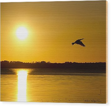 Wood Print featuring the photograph St. Johns Sunset by Kathy Ponce