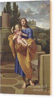 St. Joseph Carrying The Infant Jesus Wood Print by Pierre  Letellier