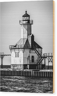 St. Joseph Lighthouse Black And White Picture  Wood Print by Paul Velgos