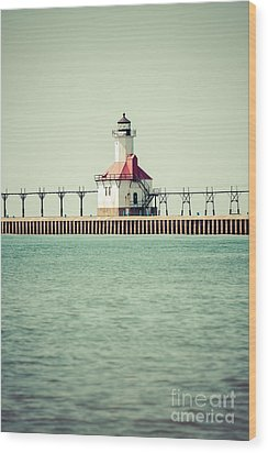 St. Joseph Lighthouse Vintage Picture  Wood Print by Paul Velgos