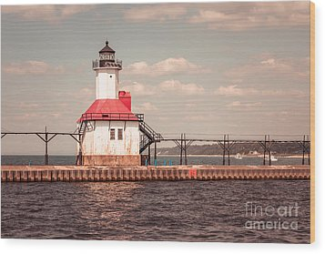 St. Joseph Lighthouse Vintage Picture  Photo Wood Print by Paul Velgos