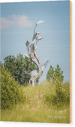 St. Joseph Michigan And You Seas Metal Sculpture Wood Print by Paul Velgos