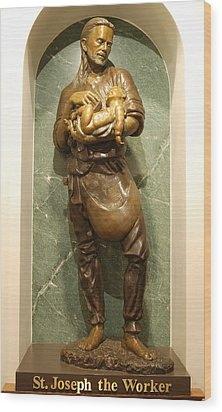 St Joseph The Worker Wood Print by Philip Ralley