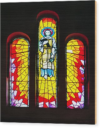 St. Joseph's Stained Glass Wood Print