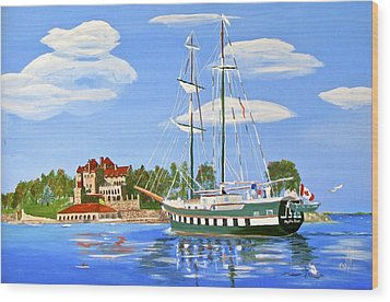 Wood Print featuring the painting St Lawrence Waterway 1000 Islands by Phyllis Kaltenbach