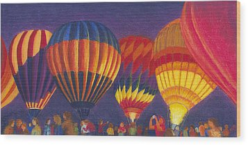 St Louis Balloon Glow Wood Print