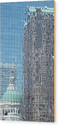 St. Louis Bldg Reflections Wood Print
