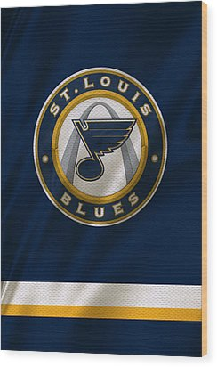 St Louis Blues Uniform Wood Print by Joe Hamilton