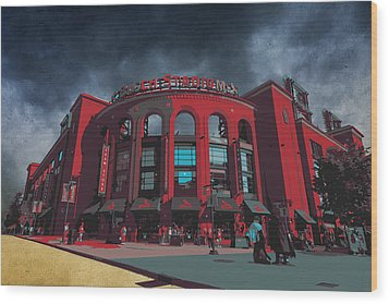 St. Louis Busch Stadium Cardinals 9162 Art Wood Print by David Haskett