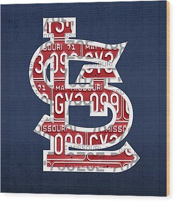St. Louis Cardinals Baseball Vintage Logo License Plate Art Wood Print by Design Turnpike