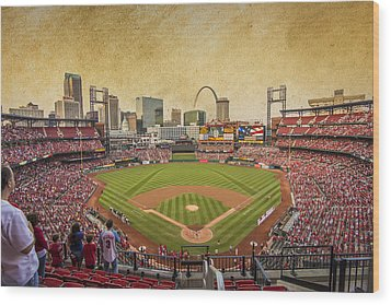 St. Louis Cardinals Busch Stadium Texture 9252 Wood Print by David Haskett